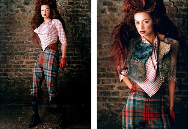 Outfit Wolpertinger mit Bluse, Fellweste, Kniehose und Tartan aus der Jagdfieber Mode Kollektion nach historischer Frauenjagdkleidung und der Kleidung von Jägerinnen zur Jagd
