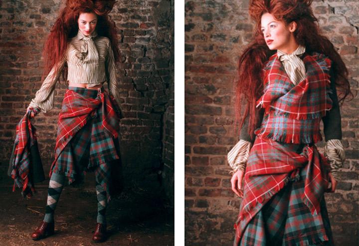 Outfit Waldbraut mit Bluse, Jacke, Rock und Tartan aus der Jagdfieber Mode Kollektion nach historischer Frauenjagdkleidung und der Kleidung von Jägerinnen zur Jagd