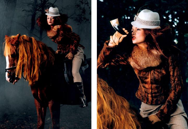 Outfit Rotfuchs aus der Jagdfieber Mode Kollektion nach historischer Frauenjagdkleidung und der Kleidung von Jägerinnen zur Jagd von Iris Luckhaus