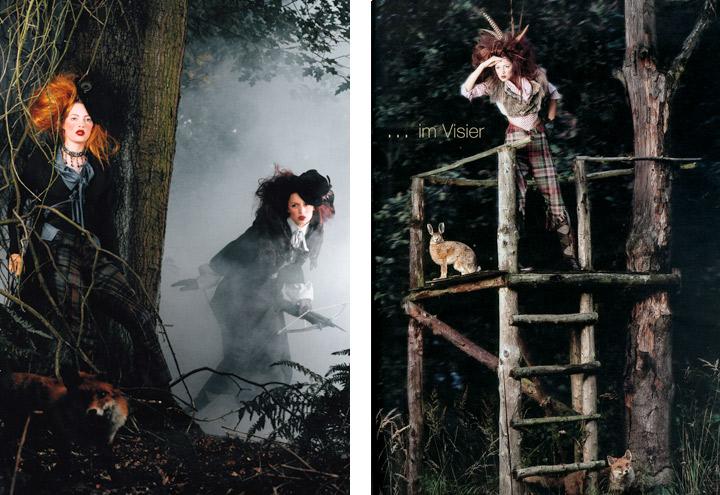 Outfits Federspiel, Märzhase und Wolpertinger aus der Jagdfieber Mode Kollektion nach historischer Frauenjagdkleidung und der Kleidung von Jägerinnen zur Jagd