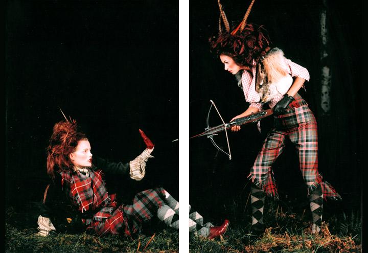 Outfits Wolpertinger und Waldbraut aus der Jagdfieber Mode Kollektion nach historischer Frauenjagdkleidung und der Kleidung von Jägerinnen zur Jagd