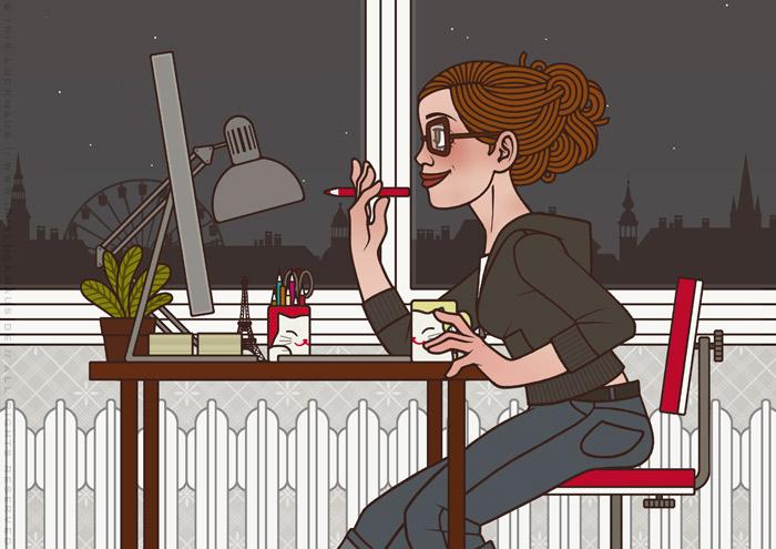 Illustration von Iris Luckhaus zu Arbeitszeiten, die eine Frau fröhlich bei der Arbeit in der Nacht im Büro am Mac zeigt