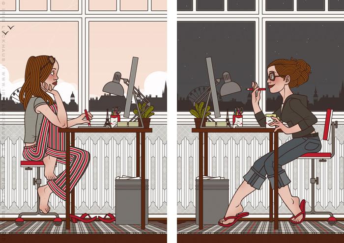 Illustrationen von Iris Luckhaus zu Arbeitszeiten bei Tag und Nacht, die eine Frau fröhlich und traurig bei der Arbeit im Büro am Mac zeigen