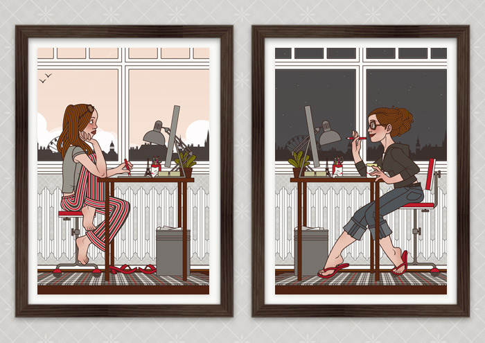 Poster Büro am Morgen und am Abend