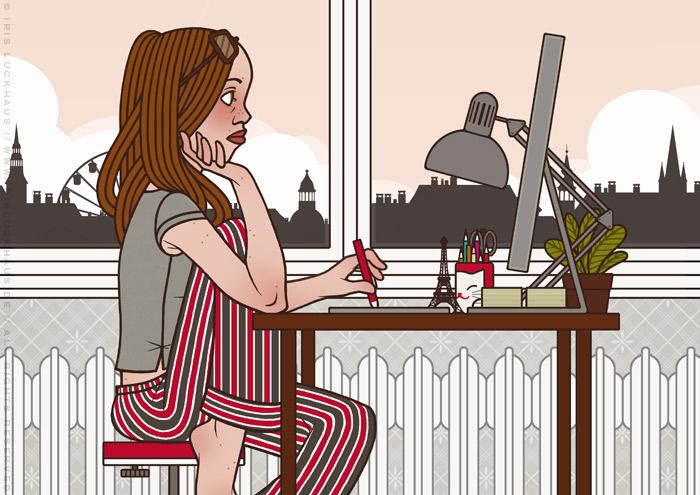 Illustration von Iris Luckhaus zu Arbeitszeiten, die eine Frau traurig bei der Arbeit am Morgen im Büro am Mac zeigt
