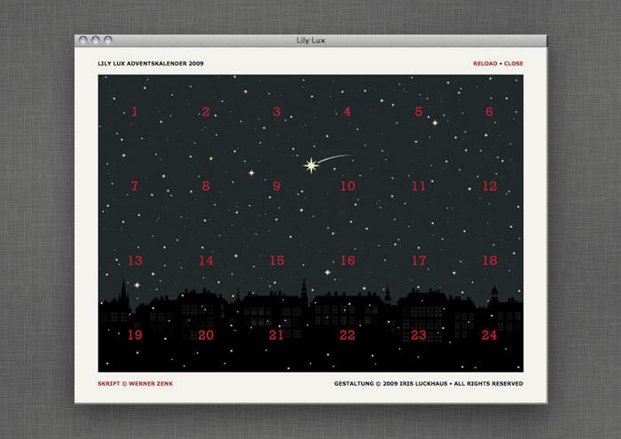 Adventskalender auf der Website von Lily Lux