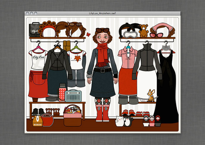 Mädchen-Anzieh-Spiel mit liebster Kleidung und Accessoires aus dem Buch auf der Website von Lily Lux
