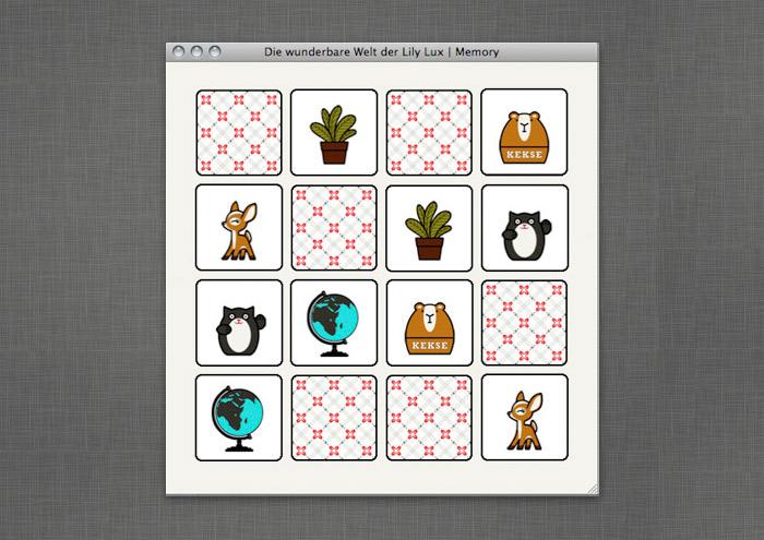 Memory-Spiel mit Lieblingsdingen wie Winkekatze, Reh, Pflanze, Murmeltier und Globus auf der Website von Lily Lux