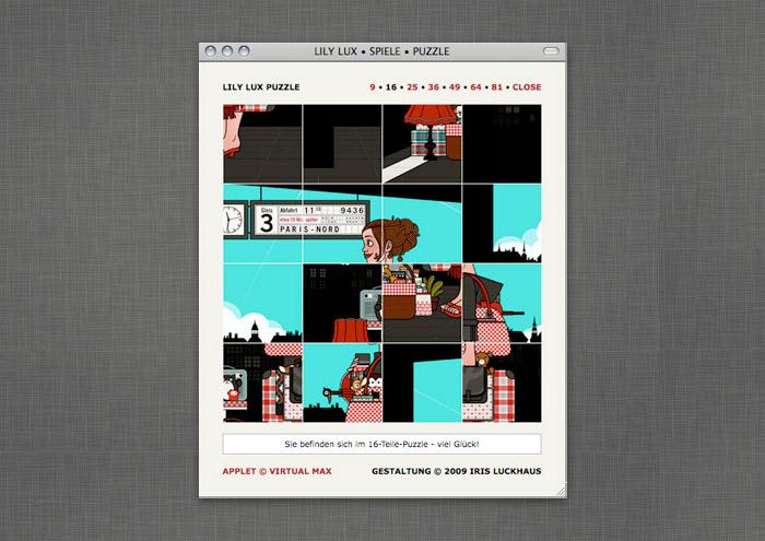 Puzzle-Spiel mit Motiven aus dem Buch auf der Website von Lily Lux