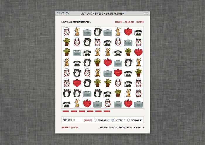 Reihen-Spiel mit Lieblingsdingen wie Pflanze, Reh, Murmeltier oder Wecker, auf der Website von Lily Lux