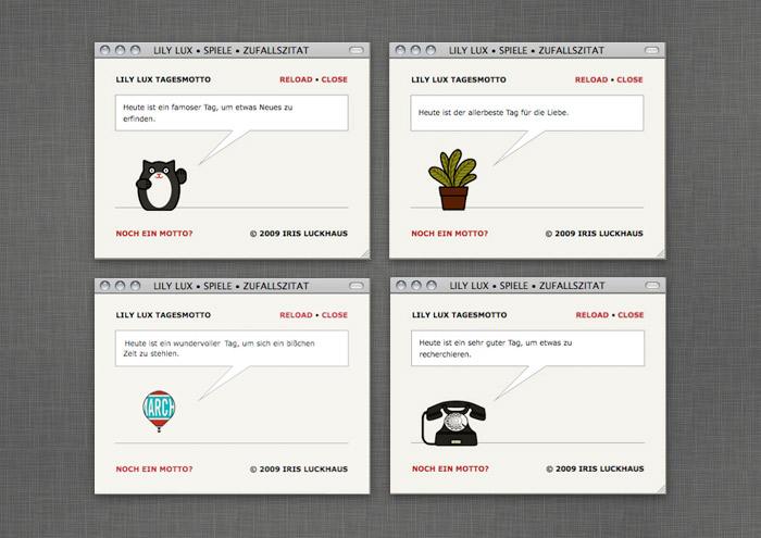 Glückskeks-Spiel mit zufälligem Tagesmotto auf der Website von Lily Lux