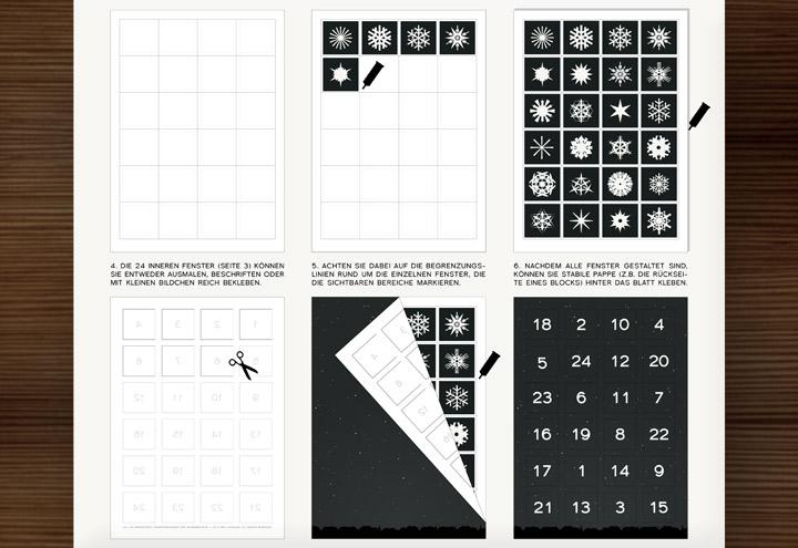 Lily Lux Bastelvorlage und Anleitung für Adventskalender mit 24 Bildchen zum Selberbasteln