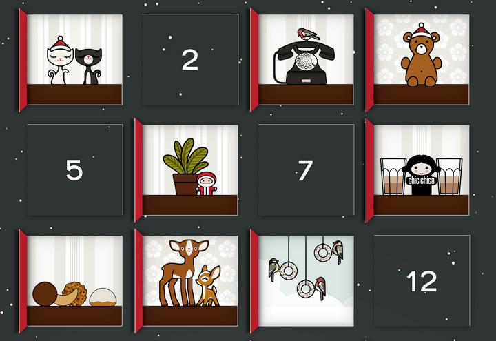 Ausschnitt von Adventskalender mit 24 Bildchen zum Selberbasteln nach Lily Lux Bastelvorlage