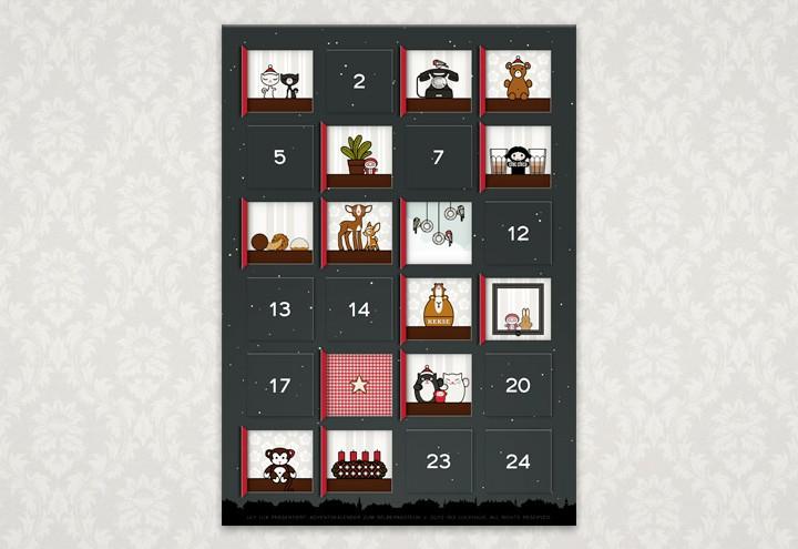 Adventskalender mit 24 Bildchen zum Selberbasteln nach Lily Lux Bastelvorlage