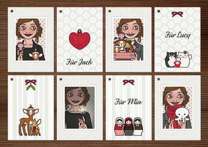 Foto der weihnachtlichen Geschenkanhänger zum Ausdrucken und Selberbasteln mit Passbildern von Lily Lux