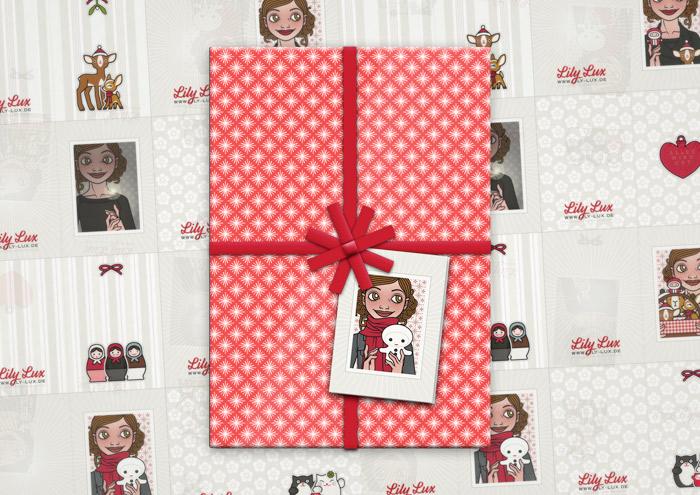 Nutzung der weihnachtlichen Geschenkanhänger zum Ausdrucken und Selberbasteln von Lily Lux an einem Geschenk