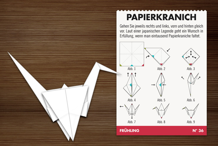 Infografik mit Anleitung zum Basteln von Papierkranichen für Lily Lux