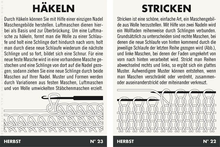 Infografiken mit Anleitung für Handarbeiten wie Häkeln und Stricken für Lily Lux