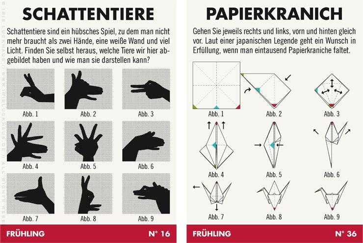 Infografik mit Anleitung für Schattentiere und das Basteln und Falten von Kranichen aus Papier, für Lily Lux
