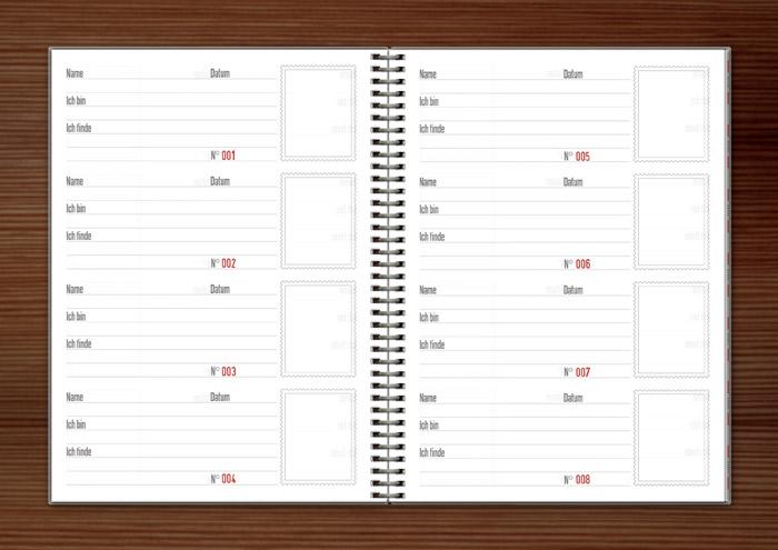 Logbuch Seiten Design für den Lily Lux Geocache Stille Post mit Briefmarkensprache