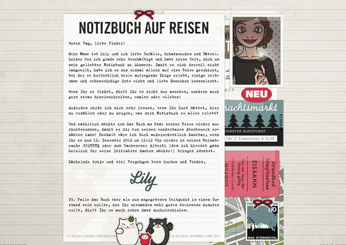 Grafik mit Passbildern zur Lily Lux Geocaching-Aktion Reisendes Notizbuch