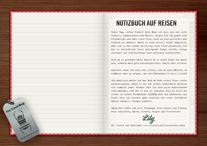 Einklebeseite mit Anmerkungen für die Lily Lux Geocaching-Aktion Reisendes Notizbuch