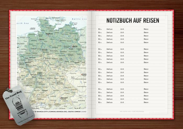 Landkarte mit Eintragefeldern und Reiseplan für die Lily Lux Geocaching-Aktion Reisendes Notizbuch