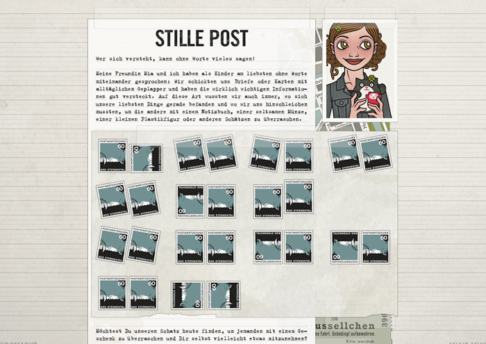 Design für das Briefmarkensprache-Rätsel Online im Lily Lux Geocache Stille Post