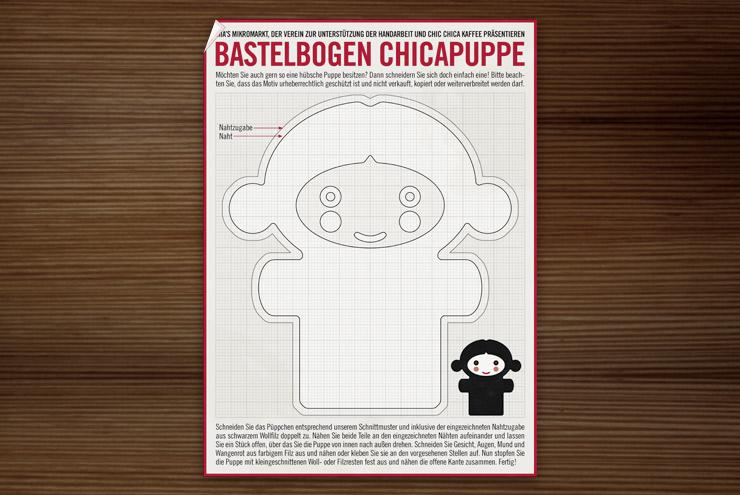 Bastelbogen mit Schnittmuster und Anleitung zum Nähen einer kleinen Chica Puppe für Lily Lux