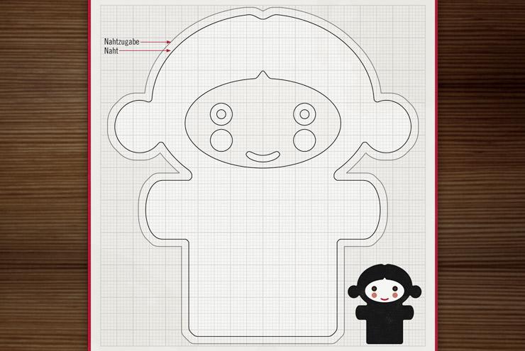 Ausschnitt aus dem Bastelbogen mit Schnittmuster und Anleitung zum Nähen einer kleinen Chica Puppe für Lily Lux