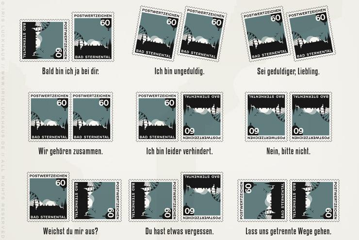 Ausschnitt aus der grafischen Anleitung für die Briefmarkensprache, einen geheimen Code für Liebende