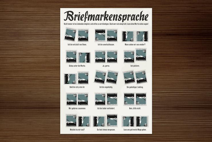 Postkarte mit einer grafischen Anleitung für die Briefmarkensprache, einen geheimen Code für Liebende