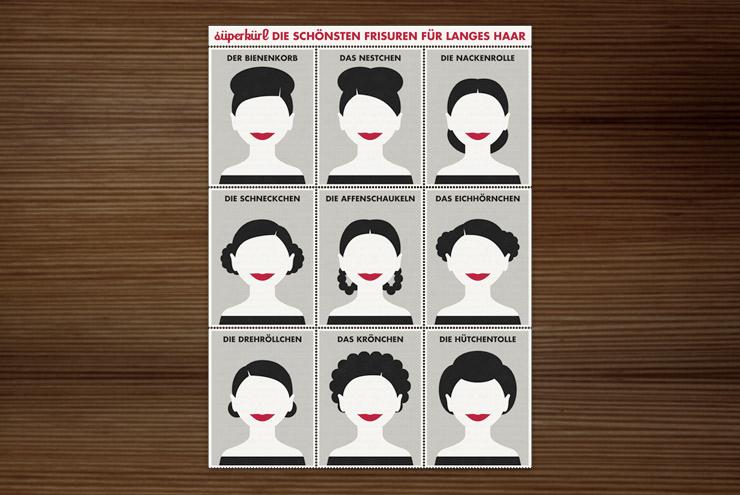 Postkarte mit Infografik zu den schönsten Frisuren, Flechtfrisuren und Hochsteckfrisuren, für langes Haar