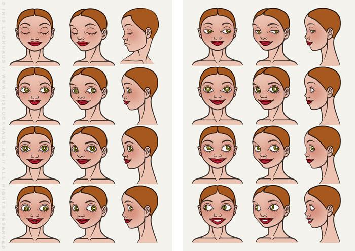 Characterdesign für Lily Lux mit Gesichtsausdrücken wie Lachen, Weinen, Staunen oder Genießen