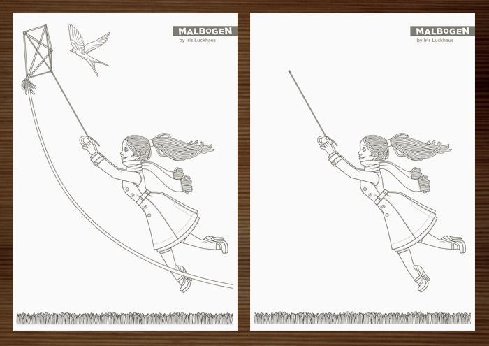 Ausgedruckter Malbogen mit Lily Lux an einem stürmischen Herbsttag beim Flug mit und ohne ihren Lenkdrachen