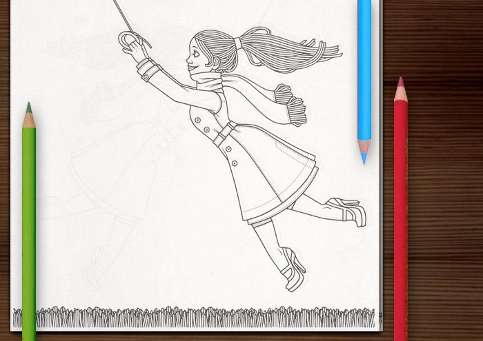 Ausmalbarer Malbogen mit Lily Lux an einem stürmischen Herbsttag beim Flug mit einem Lenkdrachen