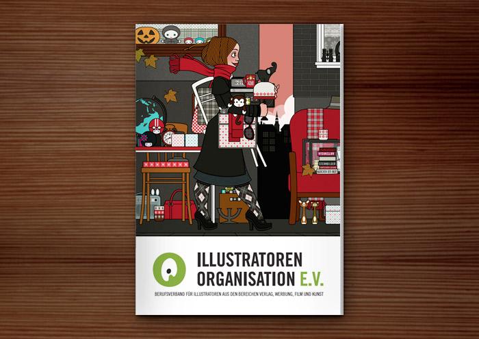 Cover einer Broschüre der Illustratoren Organisation IO e.V. mit der Zeichnung eines Mädchens, das auf dem Flohmarkt oder Sperrmüll Dinge, Taschen, Lampen, Tassen und Figuren findet und mitnimmt, für Lily Lux