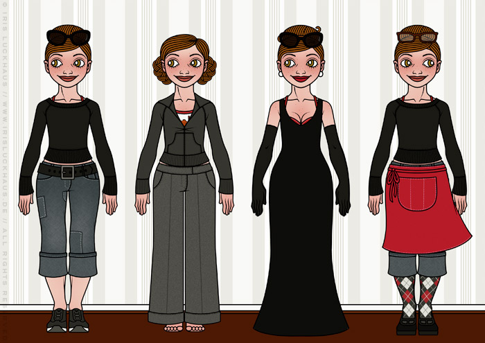 Characterdesign und Styling mit Kleidung, Mode und schicken Outfits wie Pullover, Jeans, Strickjacke, mondändes Abendkleid oder Schürzchen für Lily Lux