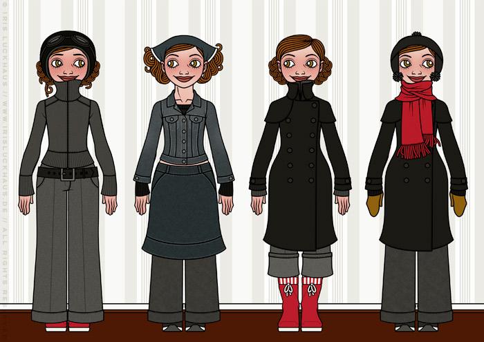 Characterdesign und Styling mit Kleidung, Mode und winterlichen Outfits wie Tweedhose, Pullover, Mäntelchen, Jacke und Schal für Lily Lux