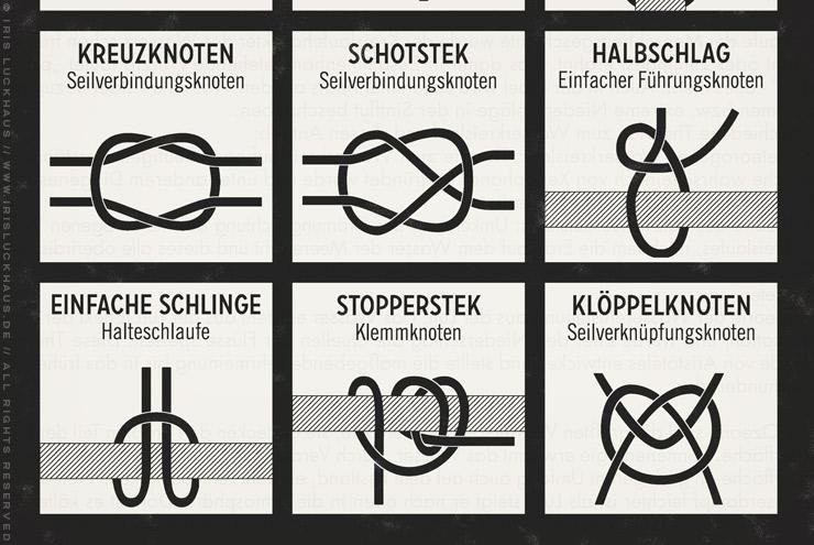 Gezeichnete Infografik mit Anleitung zum Binden von nützlichen Knoten und Seemannsknoten von Iris Luckhaus