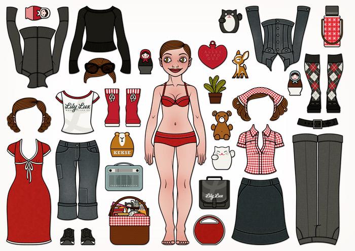 Ausgestanzte Lily Lux Kühlschrankmagnete, eine Anziehpuppe, Ankleidepuppe oder Modepuppe mit Magneten