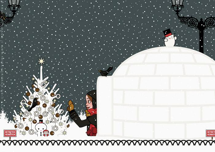 Zeichnung eines Mädchens, das sich von seiner Begeisterung für Schnee hat hinreissen lassen, einen Iglu zu bauen und nun einen Weihnachtsbaum im Park für Amseln und Singvögel mit Meisenknödeln schmückt, für Lily Lux von Iris Luckhaus