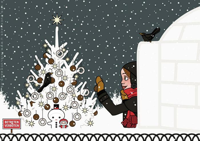 Ausschnitt aus der Zeichnung eines Mädchens, das sich von seiner Begeisterung für Schnee hat hinreissen lassen, einen Iglu zu bauen und nun einen Weihnachtsbaum im Park für Amseln und Singvögel mit Meisenknödeln schmückt, für Lily Lux
