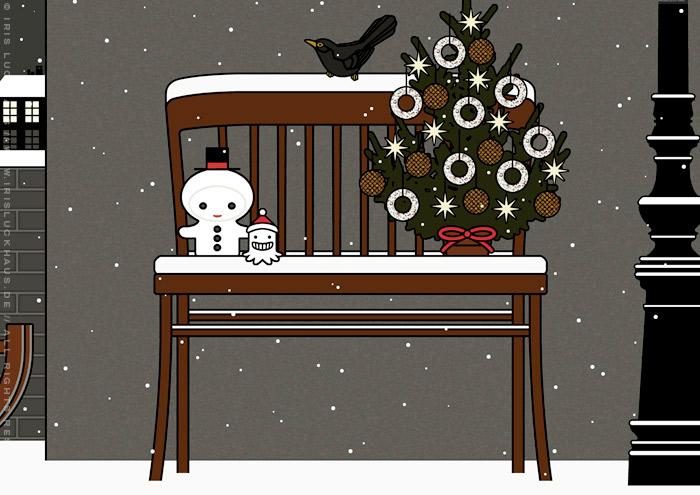 Ausschnitt aus der Zeichnung von einer Bank mit Schneemann und einem weihnachtlichen Tannenbaum voller Meisenknödel, für Lily Lux