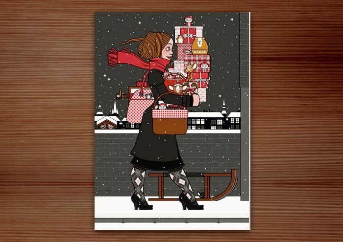 Hochformatige Weihnachtskarte mit der Zeichnung von einem Mädchen mit rotem Schal, das mit Geschenken bepackt auf der Straße im Schnee unterwegs zu einer Weihnachtsfeier ist, für Lily Lux