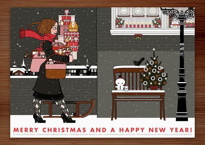 Weihnachtskarte mit der Zeichnung von einem Mädchen mit rotem Schal, das mit Geschenken bepackt auf der Straße im Schnee unterwegs zu einer Weihnachtsfeier ist, für Lily Lux