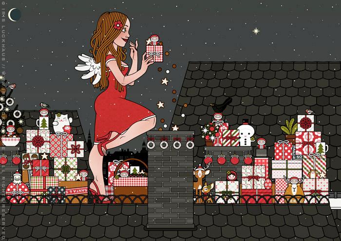 Zeichnung von einem Mädchen, das als Engel verkleidet mit Flügeln Weihnachtsgeschenke als Überraschung vom Dach aus in einem Kamin wirft, für Lily Lux