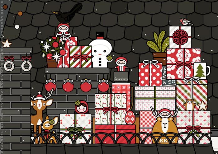Ausschnitt aus der Zeichnung von einem Mädchen, das als Engel verkleidet mit Flügeln Weihnachtsgeschenke als Überraschung vom Dach aus in einem Kamin wirft, für Lily Lux