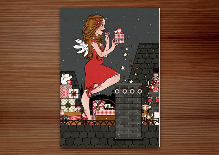 Hochformatige Weihnachtskarte mit der Zeichnung von einem Mädchen, das als Engel verkleidet mit Flügeln Weihnachtsgeschenke als Überraschung vom Dach aus in einem Kamin wirft, für Lily Lux