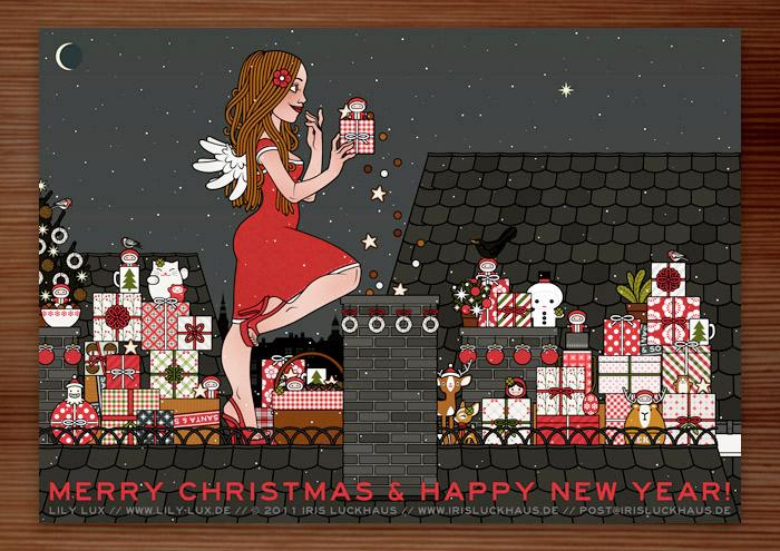 Weihnachtskarte mit der Zeichnung von einem Mädchen, das als Engel verkleidet mit Flügeln Weihnachtsgeschenke als Überraschung vom Dach aus in einem Kamin wirft, für Lily Lux